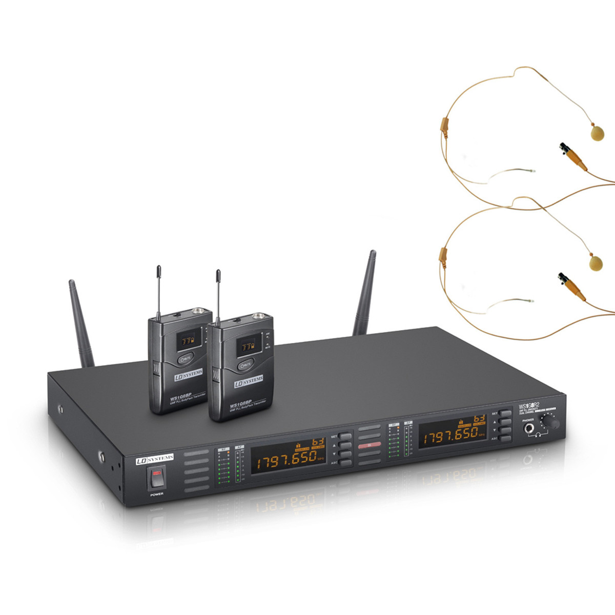 Image of LD Systems Wireless Microphone System with Belt Packs and Headsets