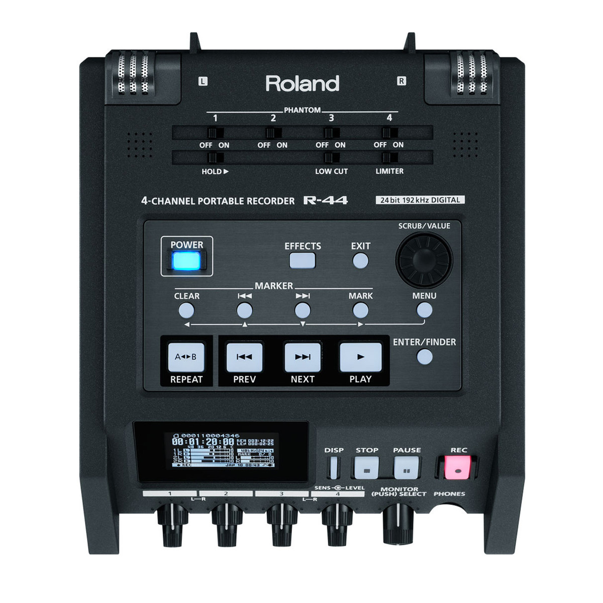 Image of Roland R-44E 4 Channel Compact Portable Field Recorder