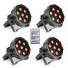 Cameo Tri Colour 7 x 3W LED RGB platt Par kan, Set om 4