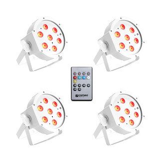 Cameo Tri Colour 7 x 3W LED RGB Flat Par Can, White Set of 4