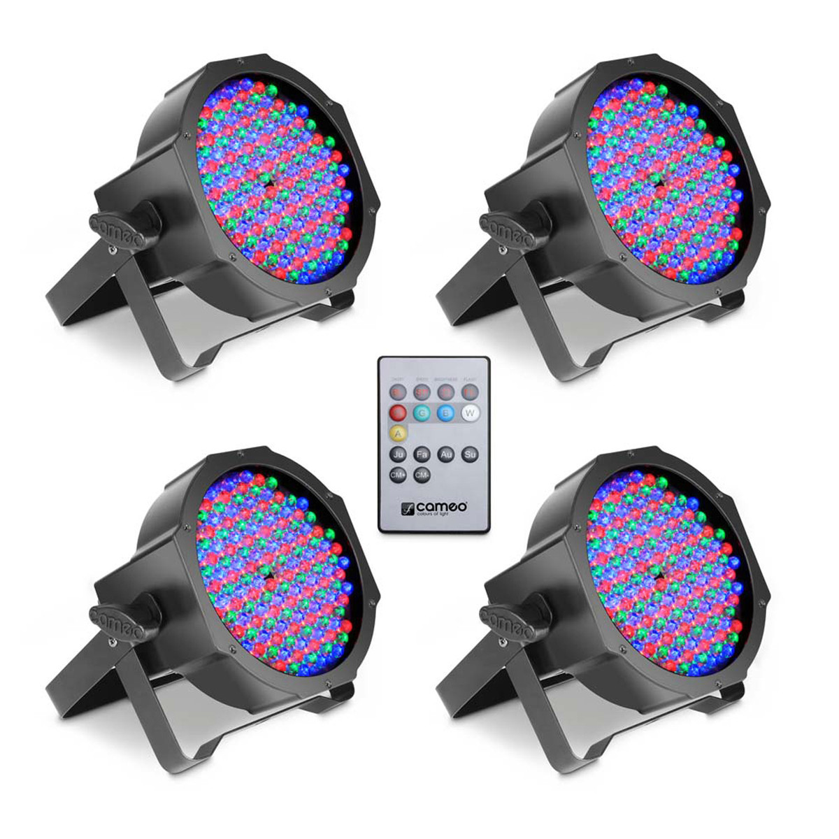 Image of Cameo 144 x 10mm RGB LED Flat Par Can Spotlight Black Set of 4