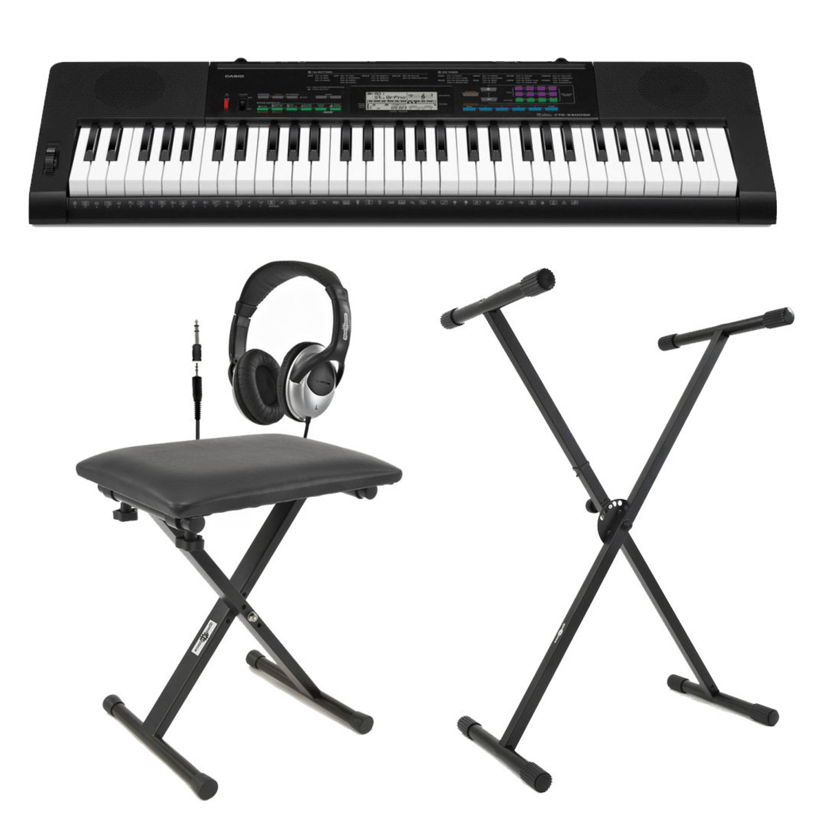 Casio Ctk 3400 Portable Keyboard With Bench Headphones And Stand At