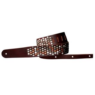 Richter 1319 Luxury Guitar Strap; Rivet Brown / Vintage Mix