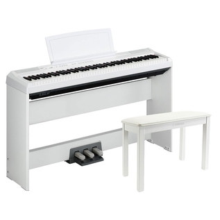 Yamaha P105 Digital Piano, White with Stand, Pedal Board and Bench