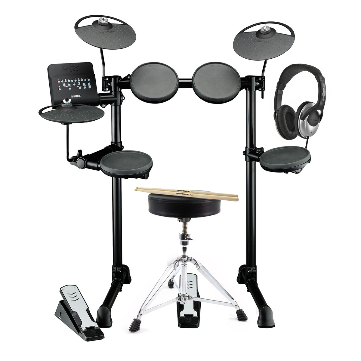 Yamaha dtx400k electronic drum kit with headphones stool for Electric drum set yamaha