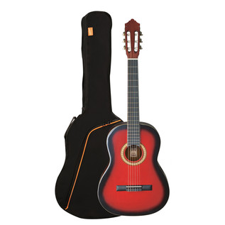 Ashton SPCG34 3/4 Size Classical Guitar Pack, Transparent Red Burst