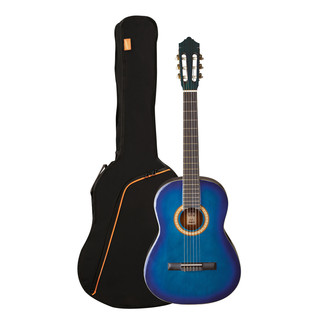 Ashton SPCG44 Full Size Classical Guitar Pack, Transparent Blue Burst