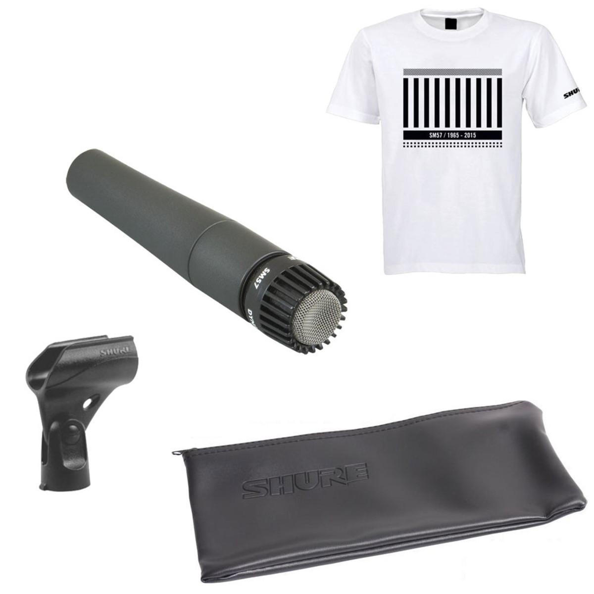 Shure SM57 Dynamic Instrument Microphone with Anniversary T-Shirt