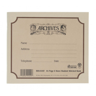 D'Addario Archives 6 Stave, 64 page Student Book, Stitched
