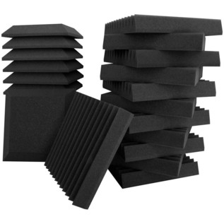Ultimate Acoustics Wedge and Bevel Foam 12x12x2'' Mix of 24, Charcoal