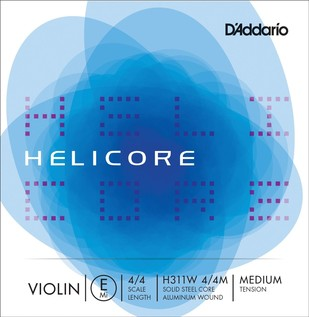 D'Addario Helicore Violin Single Aluminium Wound E String 4/4 Medium