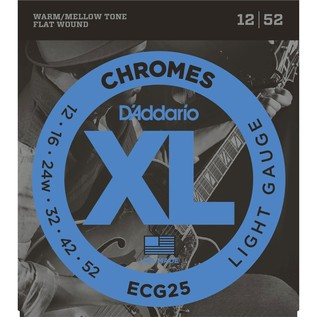 D'Addario ECG25 12-52 Chromes Flat Wound Electric Guitar Strings