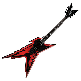 Dean Dime Razorbolt Electric Guitar, Black Red with Case