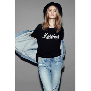 Marshall Standard T-shirt, Script Logo Graphic, Ladies Small