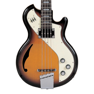 Italia Mondial Deluxe Bass Guitar, Sunburst with Gig Bag