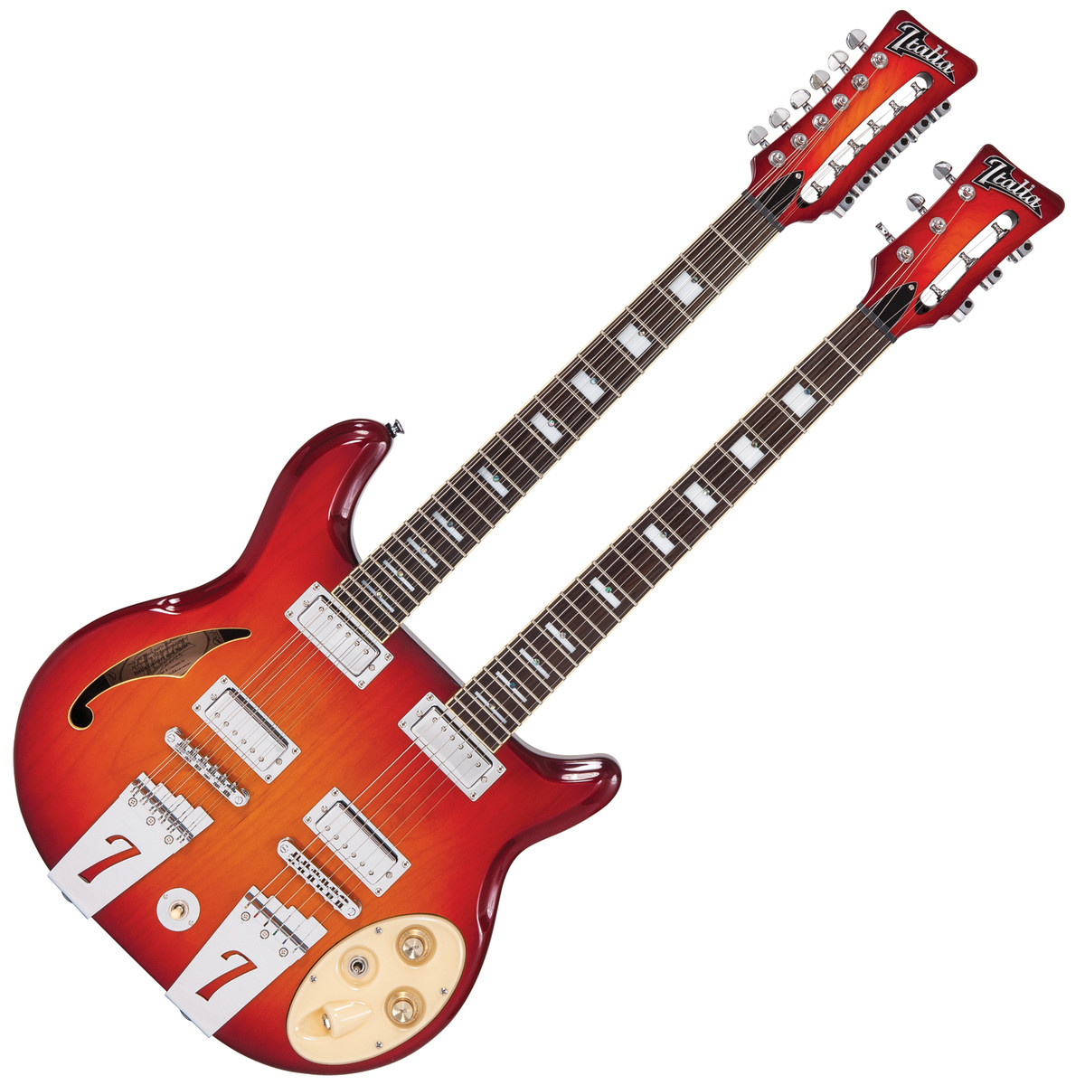 italia rimini double neck semi hollow body guitar cherry sunburst at. Black Bedroom Furniture Sets. Home Design Ideas