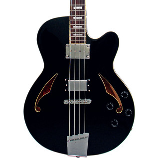 Italia Torino Semi-Hollow Body Bass Guitar, Black