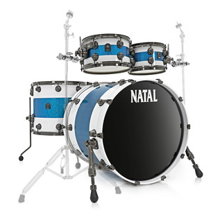 Natal Originals Maple 4pc Shell Pack, White w/ Blue Sparkle Inlay