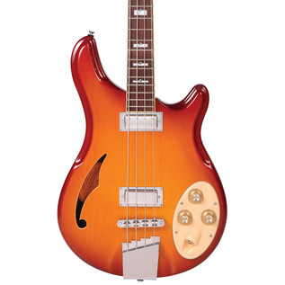 Italia Rimini 4 Bass Guitar, Honey Sunburst with Gig Bag