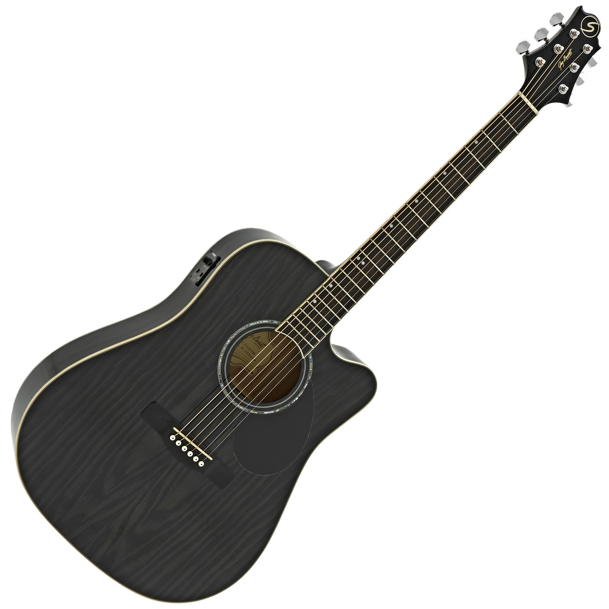 Image of Greg Bennett D-4CE Electro Acoustic Guitar Trans Black