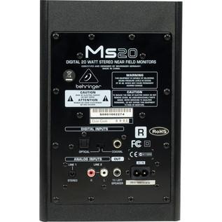 Behringer MS20 Digital Monitor Speakers (Pair) - Rear View
