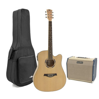 Deluxe Dreadnought Guitar and 25w SubZero Amp Pack, Birds Eye Maple