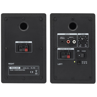 Tascam VL-S3 3 Inch Active Monitor Speakers (Pair) - Rear View