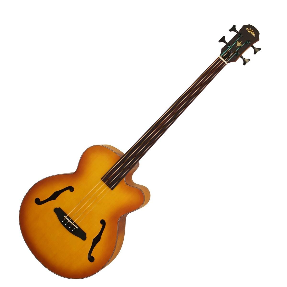 Image of Aria FEB Fretless Electro Acoustic Bass Guitar Light Vintage Burst