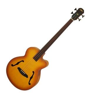 Aria FEB Fretless Electro Acoustic Bass Guitar, Light Vintage Burst
