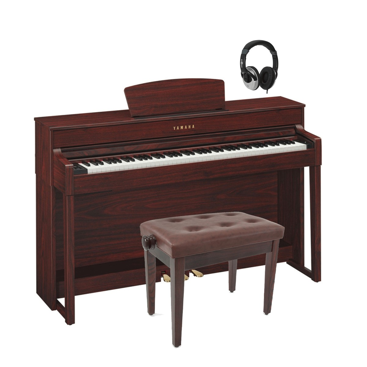 yamaha clp535 clavinova digital piano mahogany package deal at. Black Bedroom Furniture Sets. Home Design Ideas