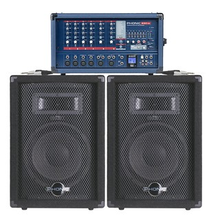 300W Phonic PA System with FX Mixer and Speakers