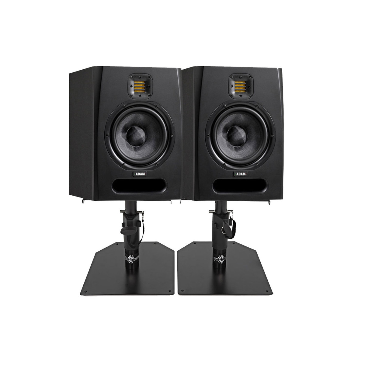 adam f7 active studio monitors with desktop stands pair at. Black Bedroom Furniture Sets. Home Design Ideas