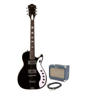 Silvertone 1423 Electric Guitar + SubZero Tube-5 Pack, Blackgold