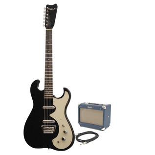 Silvertone 1449 Electric Guitar + SubZero Tube-5 Pack, Black Flake