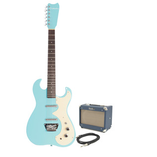 Silvertone 1449 Electric Guitar + SubZero Tube-5 Pack, Daphne Blue