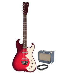 Silvertone 1449 Electric Guitar + SubZero Tube-5 Pack, Red Sparkle