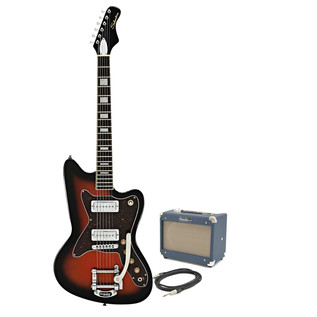 Silvertone 1478 Electric Guitar + SubZero Tube 5 Amp Pack, Red Burst