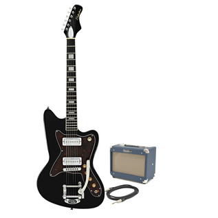 Silvertone 1478 Electric Guitar + SubZero Tube 5 Amp Pack, Black