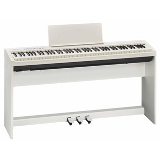 Roland FP-30 Digital Piano with Stand and Pedals, White