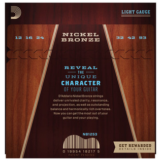 Daddario Nickel Bronze Acoustic Guitar Strings, Light, 12-53