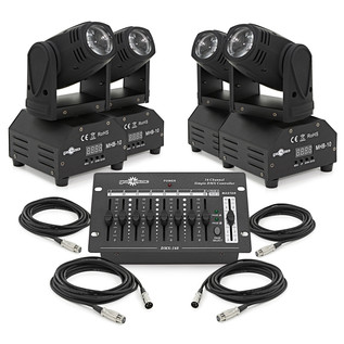 10w LED Beam Moving Head Quad Pack by Gear4music