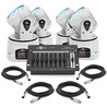 7 x 10w Mini LED Moving Head Quad Pack by Gear4music, White