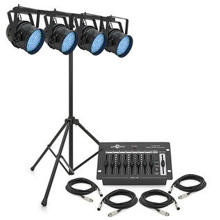 100w LED Par Can Set by Gear4music