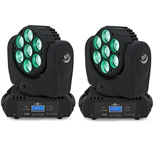 7 x 15w LED Moving Head Light Twin Pack by Gear4music