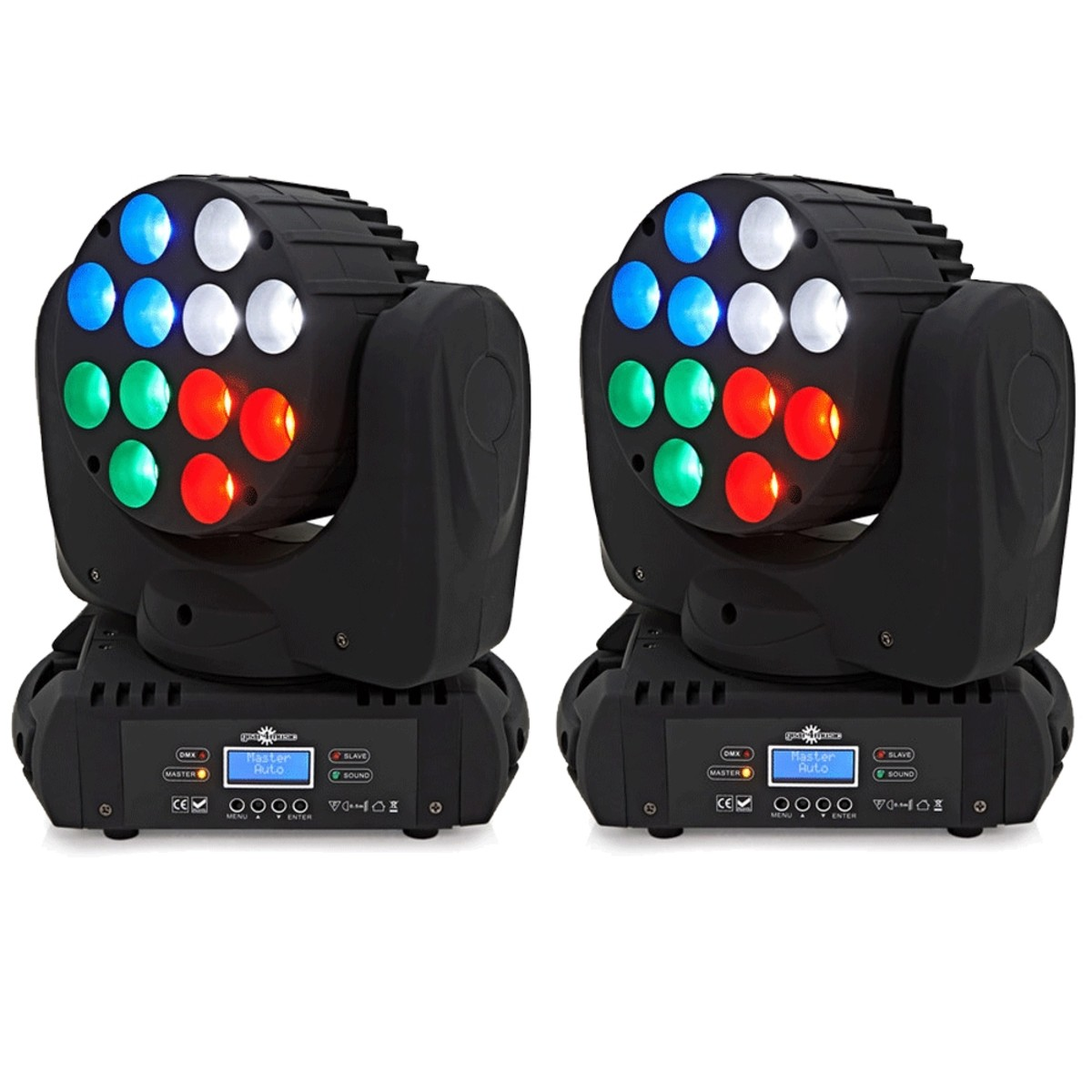 Image of 12 x 10w LED Moving Head Light Twin Pack by Gear4music