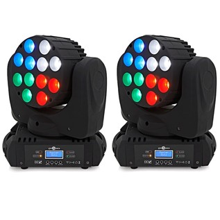 12 x 10w LED Moving Head Light Twin Pack by Gear4music