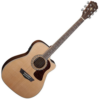 Washburn HF11SCE Folk Style Electro Acoustic Guitar, Natural