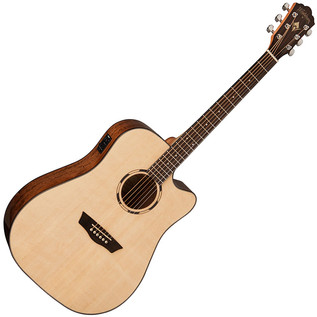 Washburn WLD10SCE Dreadnought Electro Acoustic Guitar, Natural