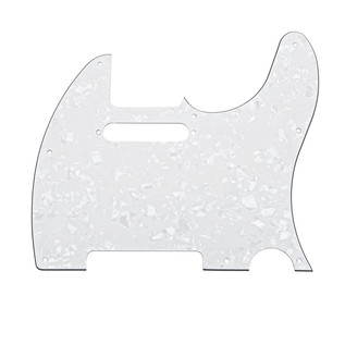 8-Hole SS Scratchplate, White Pearloid