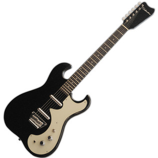 Silvertone 1449 Electric Guitar + SubZero Tube-20R Pack, Black Flake